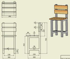 図1. 大人用椅子図面