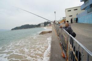 図1. 長洲東灣の砂浜でのキャスティング